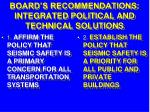 board s recommendations integrated political and technical solutions