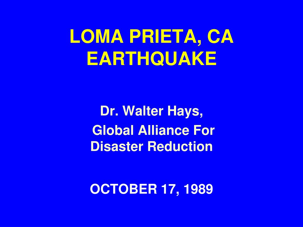 loma prieta ca earthquake l.