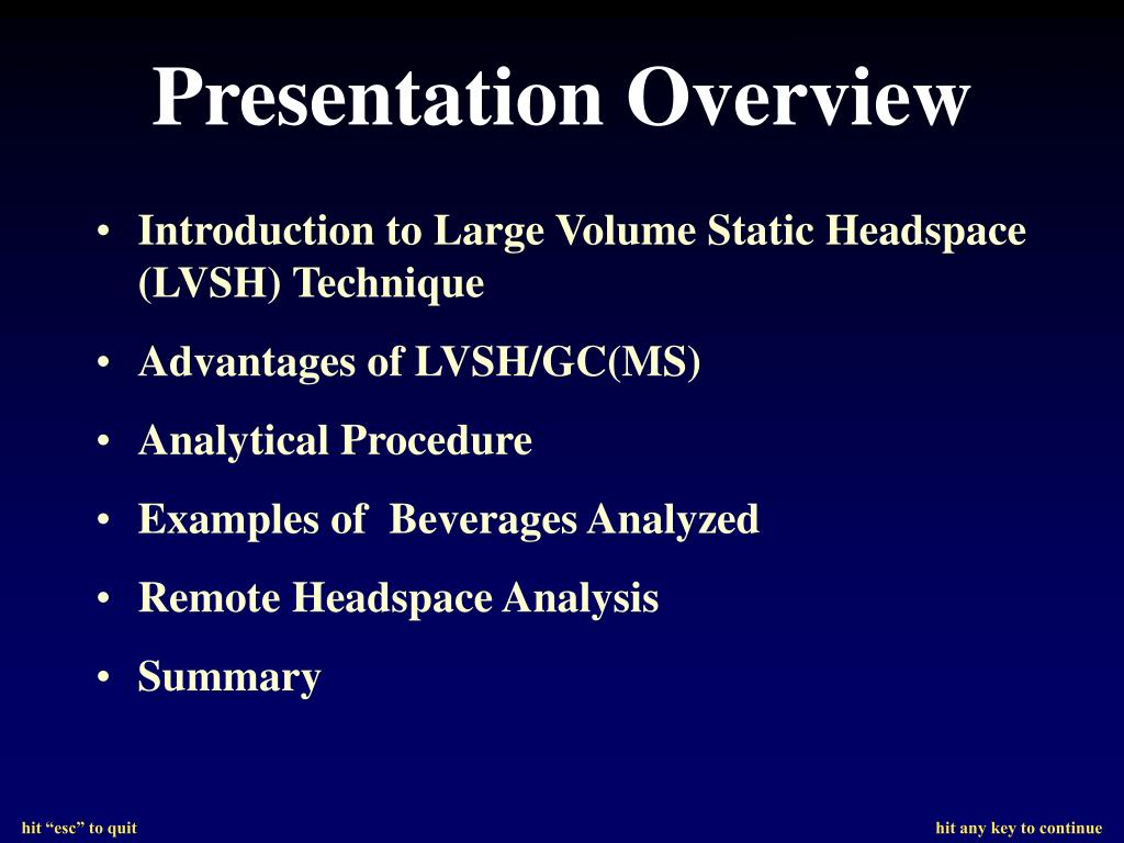 Introduction to Large Volume Static Headspace (LVSH) Technique