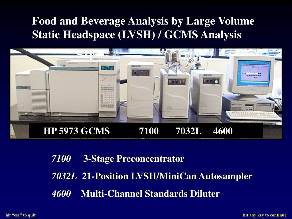 Food and Beverage Analysis by Large Volume Static Headspace (LVSH) / GCMS Analysis