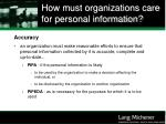 how must organizations care for personal information