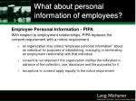 what about personal information of employees