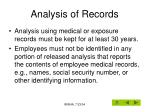 analysis of records