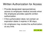 written authorization for access