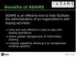 benefits of adams