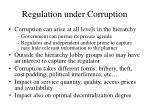 regulation under corruption