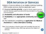 dda initiation of services