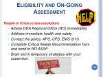 eligibility and on going assessment