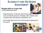 eligibility and on going assessment114