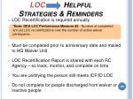 loc helpful strategies reminders