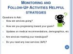 monitoring and follow up activities helpful strategies