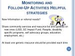 monitoring and follow up activities helpful strategies100