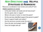 new directions helpful strategies reminders