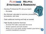 plans helpful strategies reminders