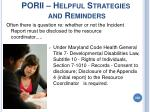 porii helpful strategies and reminders206