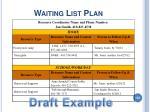 waiting list plan132