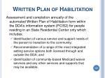 written plan of habilitation
