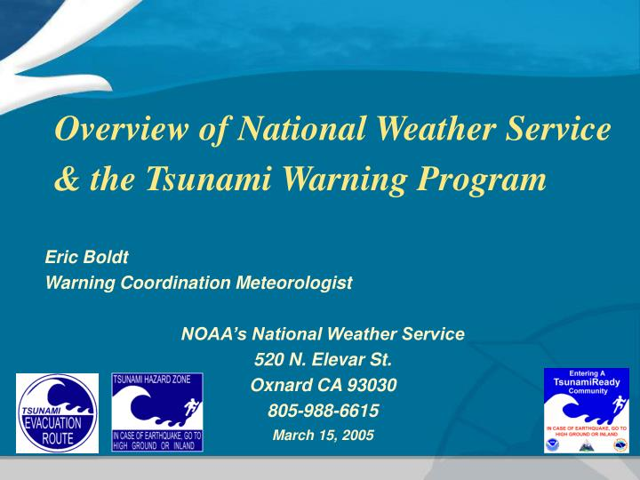overview of national weather service the tsunami warning program n.