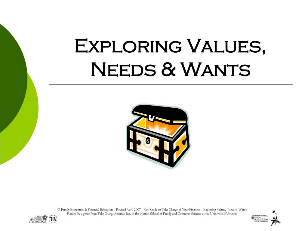exploring values needs wants l.