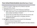 focus school determinations identified every 3 years