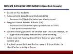 reward school determinations identified annually