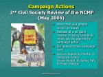 campaign actions 2 nd civil society review of the ncmp may 2006