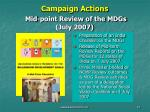 campaign actions mid point review of the mdgs july 2007