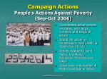 campaign actions people s actions against poverty sep oct 2006