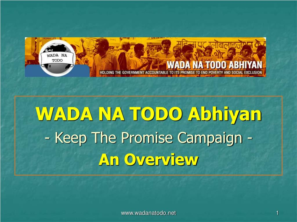 wada na todo abhiyan keep the promise campaign an overview l.