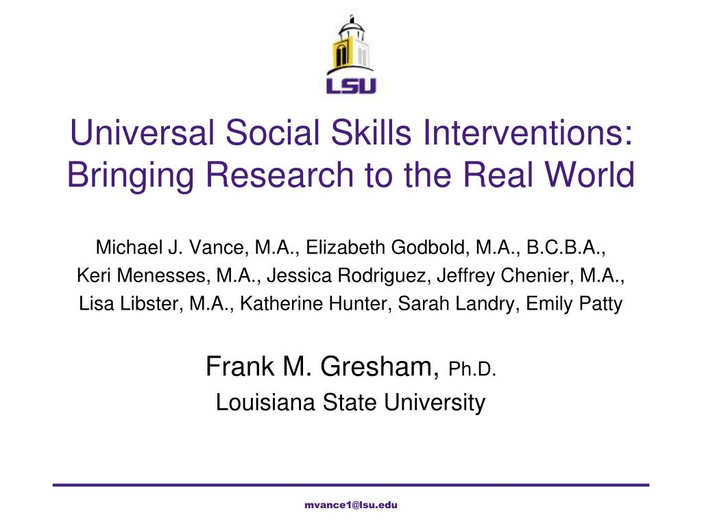universal social skills interventions bringing research to the real world l.