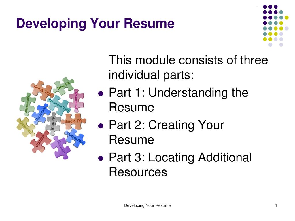 developing your resume l.