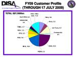 fy09 customer profile through 17 july 2009