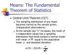 means the fundamental theorem of statistics