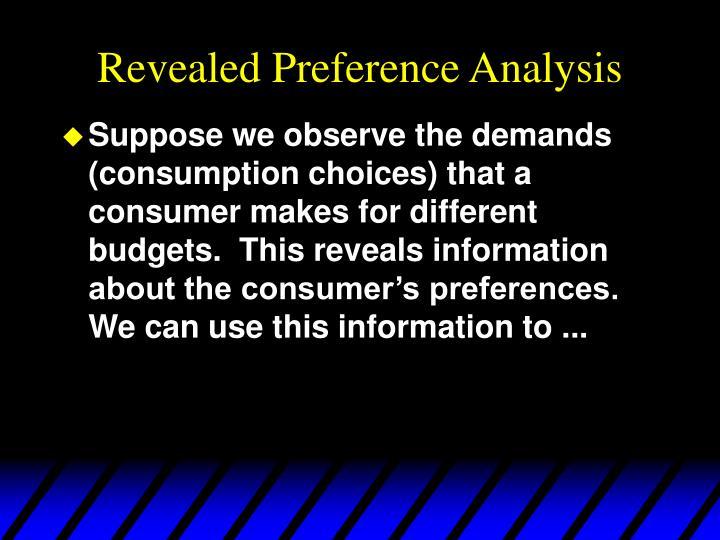 Revealed preference analysis