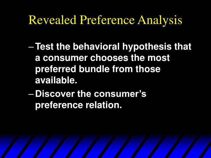 Revealed preference analysis1