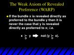 the weak axiom of revealed preference warp
