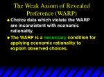 the weak axiom of revealed preference warp1