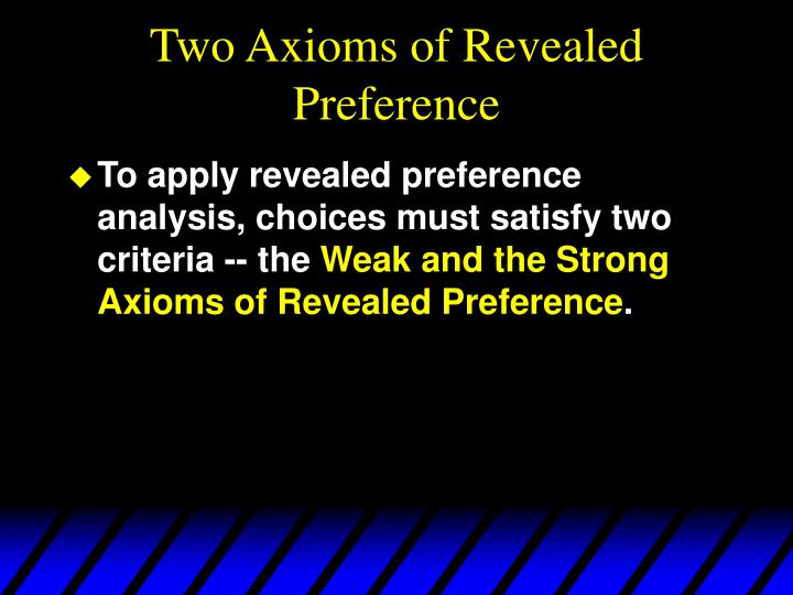 Two Axioms of Revealed Preference