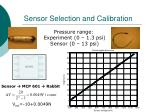 sensor selection and calibration