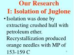 our research i isolation of juglone