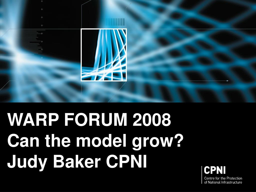 warp forum 2008 can the model grow judy baker cpni l.