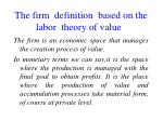 the firm definition based on the labor theory of value