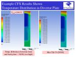 example cfx results shown temperature distribution in divertor plate