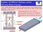 explore 10 mw m 2 helium cooled divertor plate concept