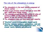the role of the atmosphere in energy