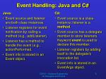 event handling java and c