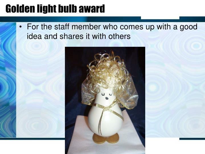 Golden light bulb award