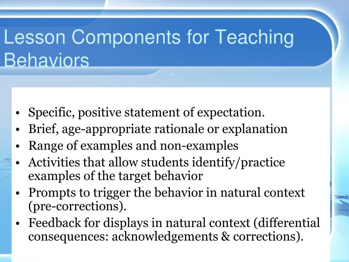 Lesson Components for Teaching Behaviors
