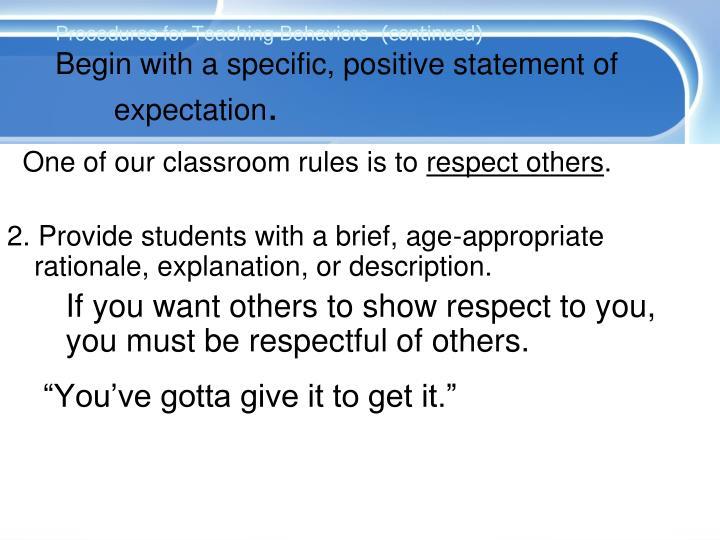 Procedures for Teaching Behaviors