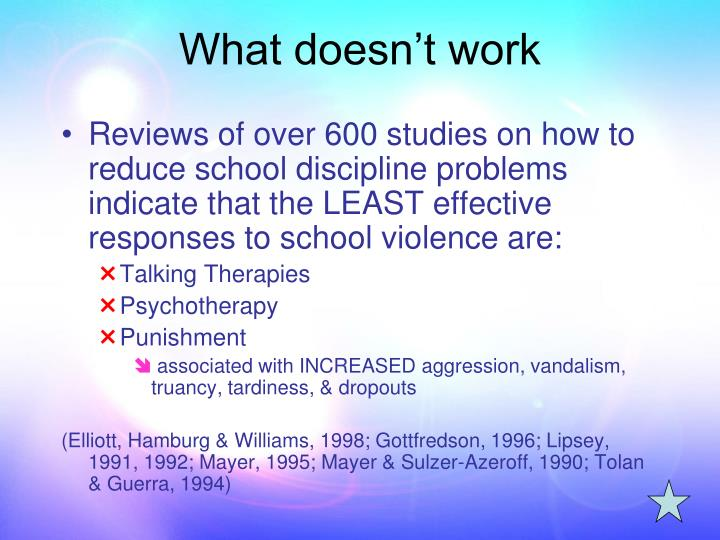 Reviews of over 600 studies on how to reduce school discipline problems indicate that the LEAST effective responses to school violence are: